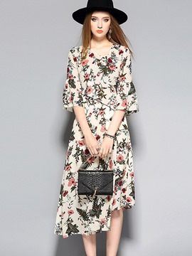 Ericdress Single-Breasted Asymmetrical Floral Casual Dress