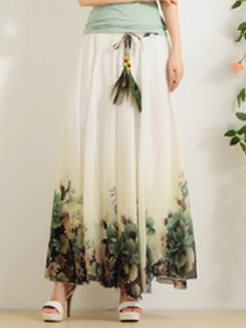 Ericdress Flower Print Chiffon Women's Skirts