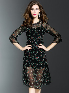 Ericdress Floral Print See-Through Ruffle Sleeve A Line Dress