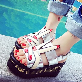 Ericdress All Match PU Platform Wedge Sandals