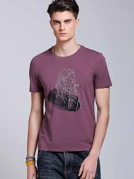 Ericdress Short Sleeve Print Simple Casual Men's T-Shirt