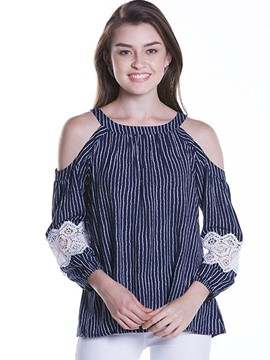 Ericdress Lace Crochet Cold Shoulder Pleated Blouse