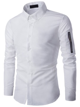 Ericdress Plain Zip Sleeve Casual Men's Shirt