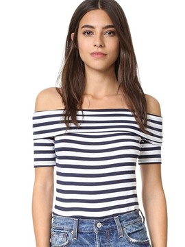 Ericdress Off-Shoulder Striped T-Shirt