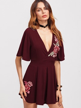 Ericdress Embroidery V-Neck A Line Dress