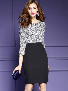 Ericdress Floral Three-Quarter Sleeve Patchwork Bodycon Dress