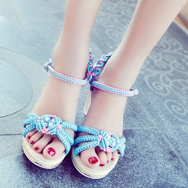 Ericdress Vintage Kintting Open Toe Ankle Strap Chunky Sandals