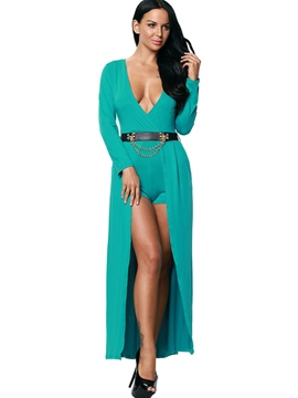 Ericdress V-Neck Long Sleeve Green Women's Jumpsuits