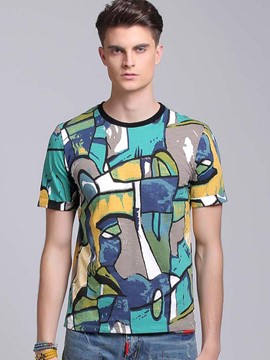 Ericdress Color Block Crew Neck Print Men's T-Shirt
