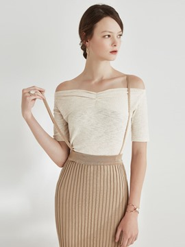 Ericdress Off-Shoulder Solid Color Knitwear