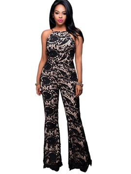 Ericdress Flower Print Flared Women's Jumpsuits