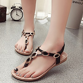 Ericdress Ethnic Beads Clip Toe Beach Sandals