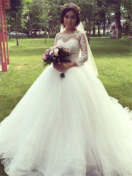 Ericdress Ball Gown 3/4 Sleeves Lace Appliques Wedding Dress