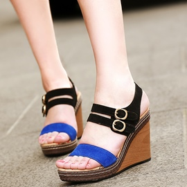 Ericdress Patchwork Buckles Open Toe Wedge Sandals