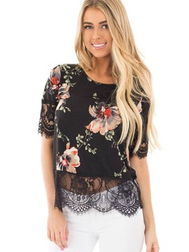 Ericdress Lace Patchwork Floral Printed T-Shirt
