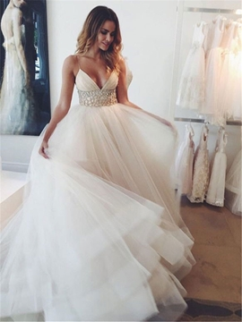 Ericdress Sexy V Neck Spaghetti Straps Tulle Wedding Dress