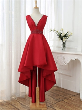 Ericdress A Line V Neck High Low Asymmetry Prom Dress With Beadings