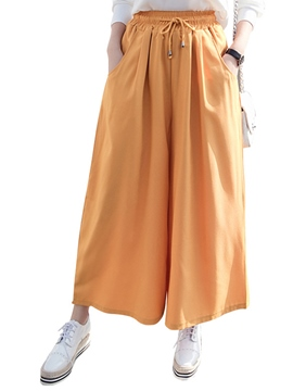 Ericdress High Waisted Pure Color Wide Leg Women's Pants