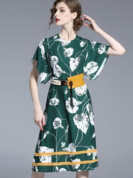 Ericdress Asymmetric Belt Floral Patchwork Casual Dress