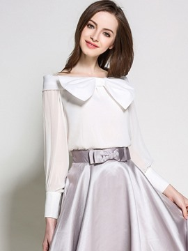 Ericdress Slim Slash Bowknot Chiffon Blouse