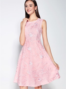 Ericdress Solid Color Embroidery Sleeveless A Line Dress