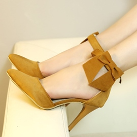 Ericdress Trendy Suede Point Toe Bowknot Decorated Stiletto Sandals