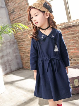 Ericdress Rabbit Printing Drawstring Peter Pan Collar Dress