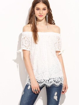 Ericdress Off-Shoulder Lace Floral Crochet Blouse
