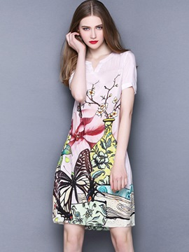 Ericdress Print V-Neck Empire Waist Bodycon Dress
