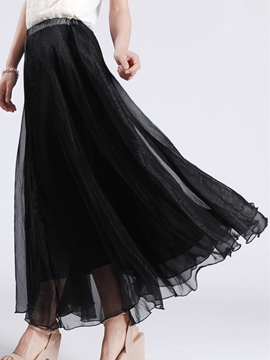 Ericdress High Waisted Chiffon Full-skirted Pure Color Women's Skirts