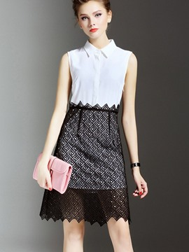Ericdress Lace Patchwork Color Block Lapel Sheath Dress