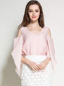 Ericdress Solid Color Off-Shoulder V-Neck Chiffon Blouse