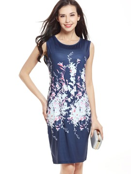 Ericdress Print sleeveless Round Collar Sheath Dress
