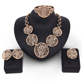 Ericdress Alloy Carving Flowers Design Hollow Jewelry Set