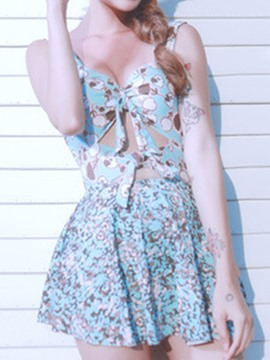 Ericdress Spaghetti Strap Hollow Floral One Piece Swimwear