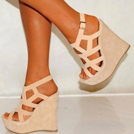Ericdress Fashion Cut Out Peep Toe Wedge Sandals