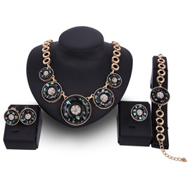 Ericdress Round Stone Inlaid E-Plating Women's Jewelry Set