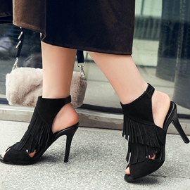 Ericdress Suede Tassels Peep Toe Stiletto Sandals