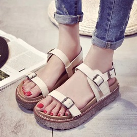 Ericdress All Match Open Toe Buckles Decorated Flat Sandals