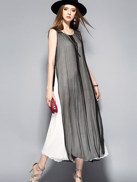Ericdress Simple Mesh Patchwork Split Maxi Dress