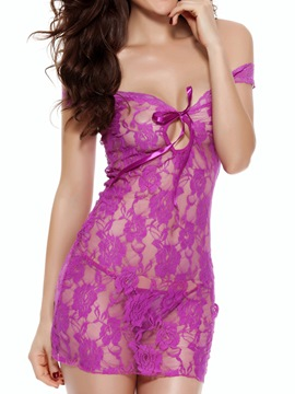 Ericdress Sexy Flower Cut-Out Plain Lace Babydoll