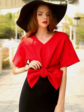 Ericdress Bow Tie Knot V-Neck Crop T-Shirt