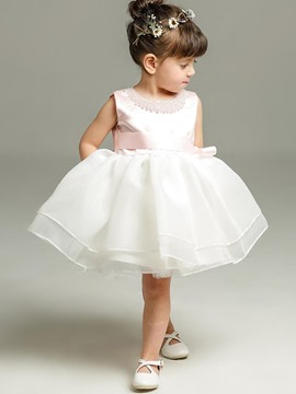 Ericdress Top Beads Decorated Bow-tie Infant Ball Gown Dress