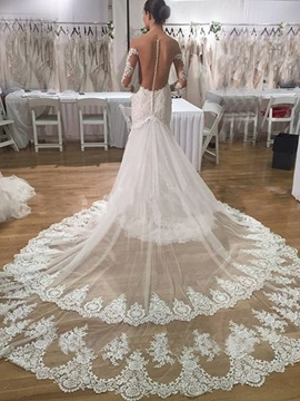 Ericdress Long Sleeves Mermaid Appliques Tulle Wedding Dress