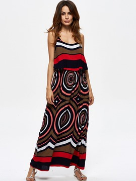 Ericdress Geometric Patchwork Spaghetti Strap Maxi Dress