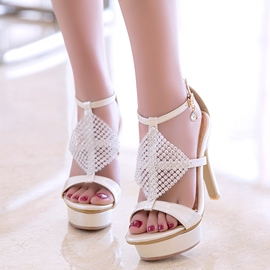 Ericdress Rhinestone Platform T Strap Stiletto Sandals