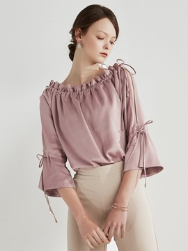 Ericdress Three-Quarter Sleeve Pleated Blouse