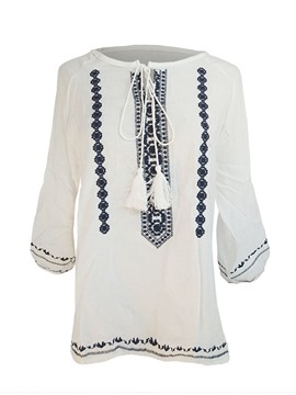 Ericdress Bow Knot Fringe Embroidery T-Shirt