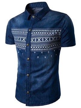 Ericdress Short Sleeve Denim Casual Men's Shirt