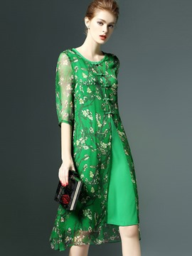 Ericdress Vibrant Color Floral Chinoiserie Button A Line Dress